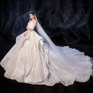 Romantic Ivory See-through Wedding Dresses 2020 Ball Gown Square Neckline 3/4 Sleeve Appliques Lace Beading Cathedral Train Ruffle