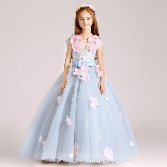 Blumenfee Himmelblau Mädchenkleider 2017 Ballkleid Rundhalsausschnitt Ärmel Applikationen Blumen Lange Rüschen Rückenfreies Kleider Für Hochzeit