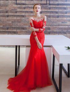 Glamourösen Abendkleider 2016 Nixe U-ausschnitt Spitze Rückenfrei Abendkleid Mit Sweep Zug