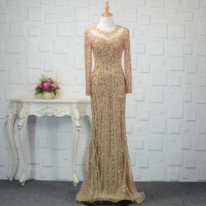 Luksusowe Szampan Wykonany Ręcznie Frezowanie Sukienki Wieczorowe 2019 Syrena / Rozkloszowane Kryształ Cekiny Wycięciem Długie Rękawy Trenem Sweep Sukienki Wizytowe