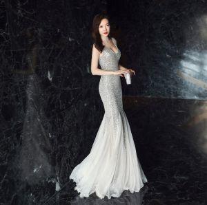Modern / Fashion Silver Evening Dresses  2019 Trumpet / Mermaid V-Neck Sequins Sash Sleeveless Backless Floor-Length / Long Formal Dresses