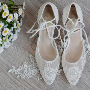 High-end Ivory Handmade  Wedding Shoes 2020 Leather Tulle Lace Flower 8 cm Stiletto Heels Pointed Toe Wedding High Heels