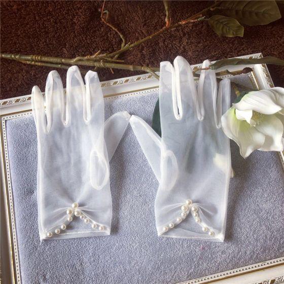 Stylowe / Modne Białe Rękawiczki Ślubne 2020 Frezowanie Perła Tiulowe Bal Ślub Akcesoria