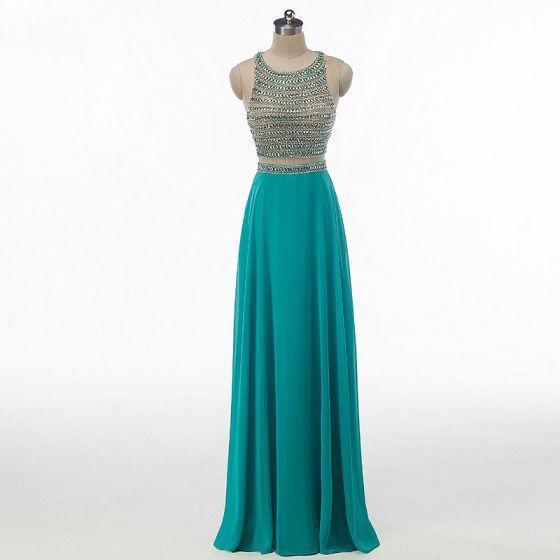 Błyszczące Rhinestone Sukienki Na Bal 2017 Princessa Wycięciem Bez Rękawów W kształcie serca Bez Pleców Frezowanie Cekiny Jade Zielony Szyfon Długie Sukienki Wizytowe