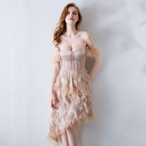 Sexy Nude Abendkleider 2019 Off Shoulder Kurze Ärmel Asymmetrisch Rückenfreies Festliche Kleider