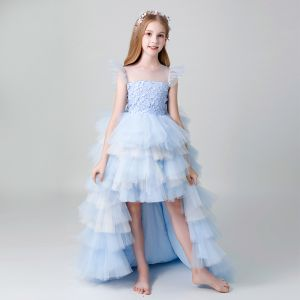 Chic / Beautiful Sky Blue See-through Flower Girl Dresses 2019 A-Line / Princess Scoop Neck Sleeveless Pearl Asymmetrical Cascading Ruffles Wedding Party Dresses