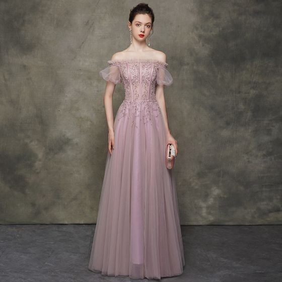 High-end Blushing Pink Evening Dresses  2020 A-Line / Princess Off-The-Shoulder Puffy Short Sleeve Beading Floor-Length / Long Ruffle Backless Formal Dresses Tulle