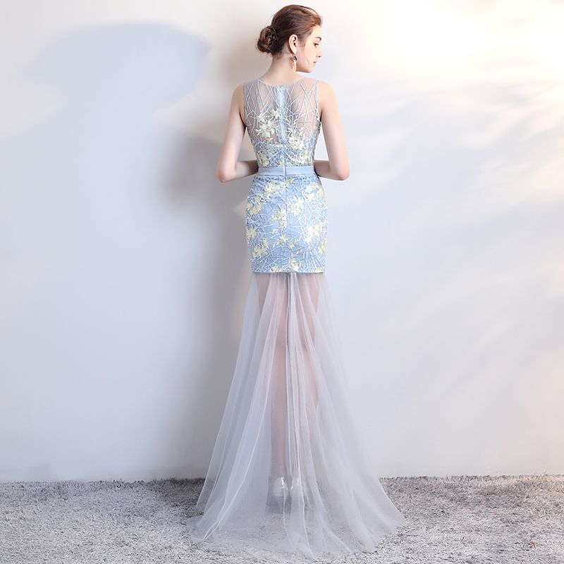 Modern / Fashion Sky Blue Party Dresses 2017 Trumpet / Mermaid Scoop Neck Sleeveless Backless Pierced Appliques Lace Sweep Train Formal Dresses