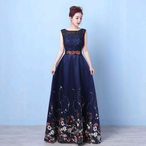 Flower Fairy Navy Blue Floor-Length / Long Evening Dresses  2018 A-Line / Princess U-Neck Appliques Backless Printing Beading Rhinestone Evening Party Formal Dresses