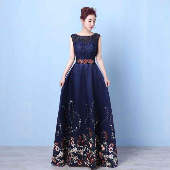 Flower Fairy Navy Blue Floor Length Long Evening Dresses 2018 A