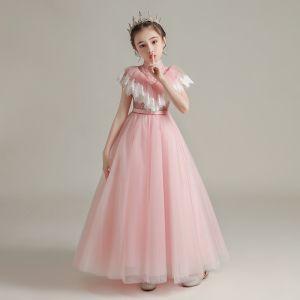 Vintage / Originale Perle Rose Transparentes Anniversaire Robe Ceremonie Fille 2020 Princesse Col Haut Sans Manches Ceinture Perlage Longue Volants