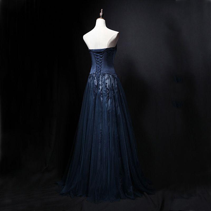 Chic / Belle Bleu Marine Robe De Soirée 2018 Princesse Cristal Bustier Sans Manches Dos Nu Longue Robe De Ceremonie