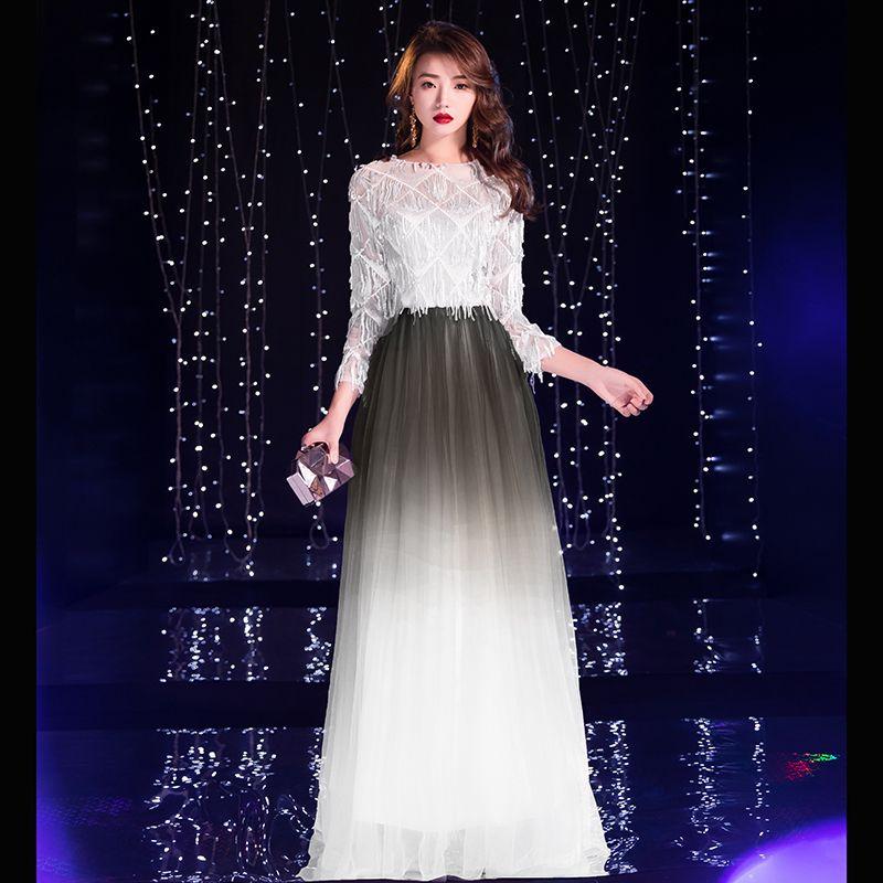Charming Gradient-Color Purple Evening Dresses  2019 A-Line / Princess Scoop Neck Sequins Tassel 3/4 Sleeve Floor-Length / Long