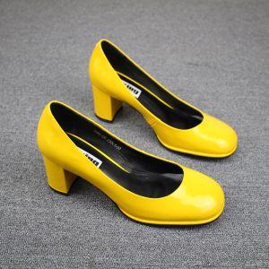 Proste / Simple Żółta Przypadkowy Buty Damskie 2019 Skórzany Skóry Lakierowanej 6 cm Szpilki Okrągłe Toe Czółenka