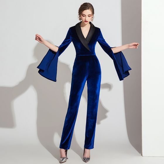 Elegant Royal Blue Winter Suede Jumpsuit 2019 V-Neck Long Sleeve Ankle Length Evening Dresses
