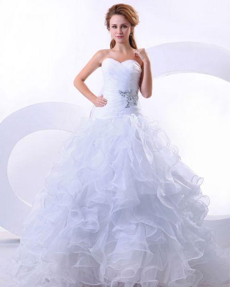 Eleganta Organza Parlbrodering Alskling Kapell Brud Balklänning Bröllopsklänningar Brudklänning