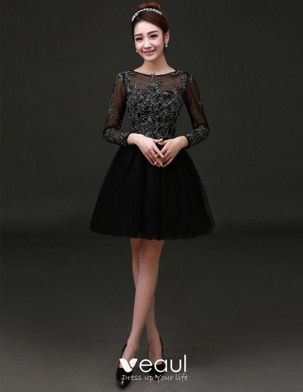 elegant schwarzes kleid lang