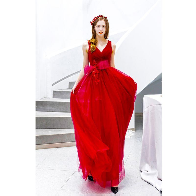 Mooie / Prachtige Rode Galajurken 2019 A lijn V-Hals Kralen Kant Bloem Strik Mouwloos Ruglooze Lange Gelegenheid Jurken