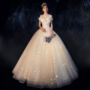 Chic / Beautiful Ivory Wedding Dresses 2019 A-Line / Princess Off-The-Shoulder Short Sleeve Backless Appliques Lace Beading Glitter Sequins Floor-Length / Long Ruffle