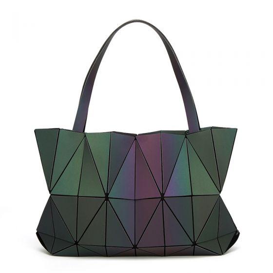 Unik Lysende Geometrisk Multi-Farver Skuldertasker 2021 PU Reflekterende Holografisk Dametasker
