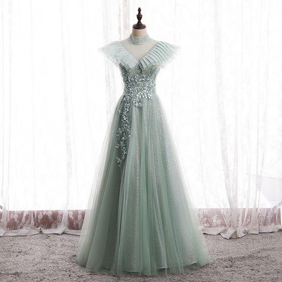 Vintage / Retro Sage Green Prom Dresses A-Line / Princess 2020 Scoop Neck Beading Rhinestone Sequins Sleeveless Backless Floor-Length / Long Formal Dresses