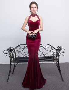 Sexy Mermaid Evening Dress 2017 Halter Backless Formal Dress With Sequins