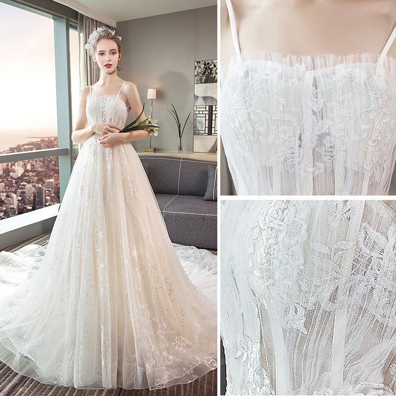 Modern / Fashion Champagne Wedding Dresses 2018 A-Line / Princess Lace Flower Star Spaghetti Straps Backless Sleeveless Cathedral Train Wedding