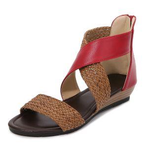 Bohemia Sommer Rød Strand Fletning Sandaler Dame 2020 4 cm Low Heel Peep Toe Sandaler