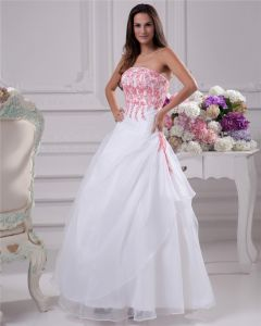 00c3532a7d Applique Beading Strapless Floor Length Brush Train Satin Organza Lace Ball  Gown Wedding Dress