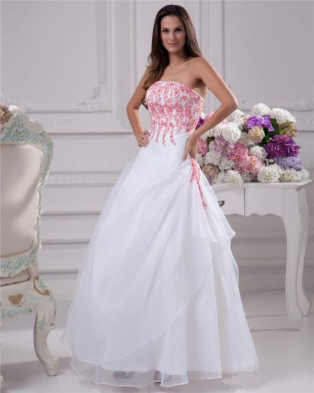 Applique Beading Strapless Floor Length Brush Train Satin Organza Lace Ball Gown Wedding Dress