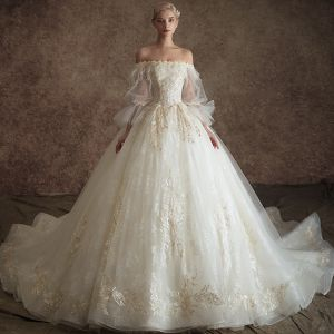 Classy Ivory Wedding Dresses 2019 Princess Off-The-Shoulder Puffy 3/4 Sleeve Appliques Lace Feather Pearl Chapel Train Ruffle