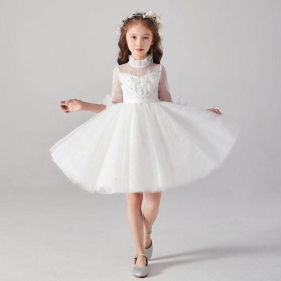 Chic / Beautiful White See-through Flower Girl Dresses 2020 Ball Gown High Neck 1/2 Sleeves Appliques Lace Beading Pearl Sash Short Ruffle Tulle