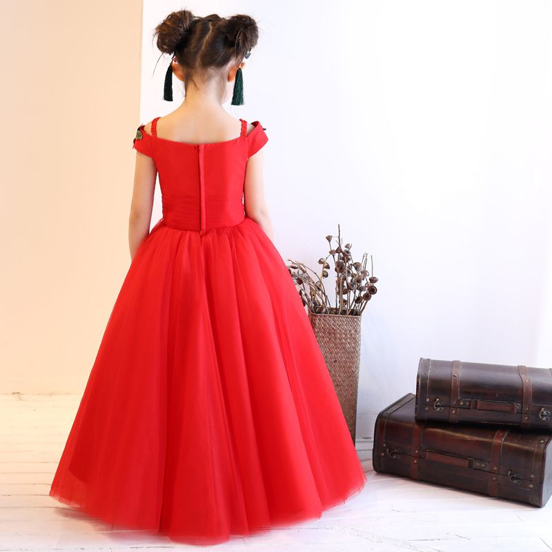 Chinese style Church Wedding Party Dresses 2017 Flower Girl Dresses Red A-Line / Princess Floor-Length / Long Square Neckline Short Sleeve Flower Appliques Rhinestone