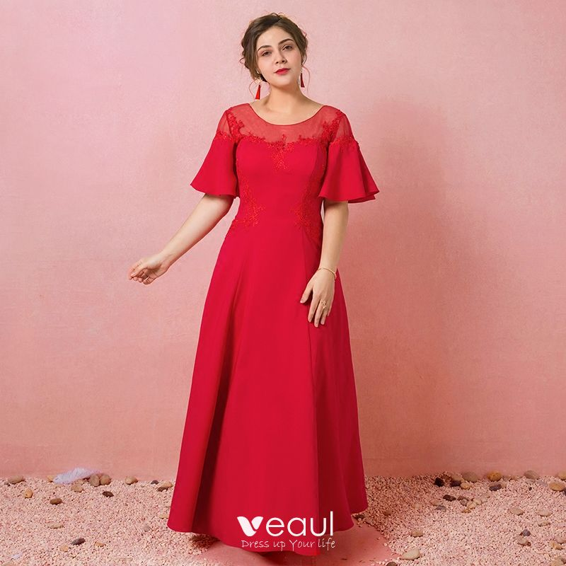 Modest / Simple Red Plus Size Evening Dresses 2018 A-Line / Princess  Lace-up Tulle U-Neck Appliques Backless Evening Party Formal Dresses