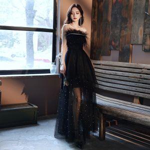Mode Zwarte Zomer Galajurken 2021 A lijn Strapless Mouwloos Veer Rhinestone Kralen Parel Glans Tule Lange Ruche Ruglooze Gelegenheid Jurken