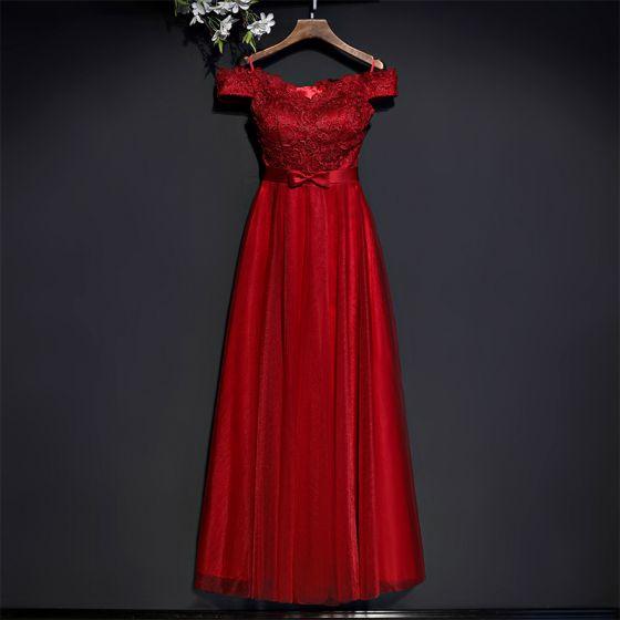 Schöne Rot Festliche Kleider Abendkleider 2017 Mit Spitze Blumen Schleife Kurze Ärmel Knöchellänge Empire