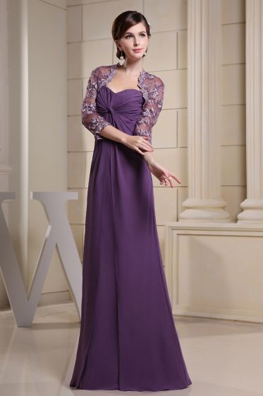 Chiffon Silk Ruffle Sweetheart Floor Length Mother of the Bride Dress