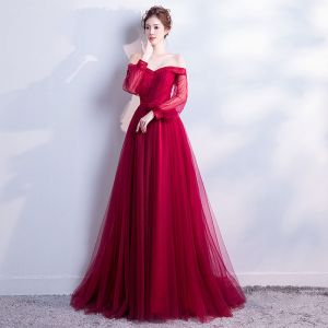Chic / Beautiful Burgundy Evening Dresses  2018 A-Line / Princess Off-The-Shoulder Long Sleeve Sash Chapel Train Ruffle Backless Formal Dresses