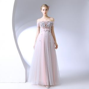 Chic / Beautiful Blushing Pink Formal Dresses 2017 A-Line / Princess Lace Flower Crystal Off-The-Shoulder Backless Short Sleeve Ankle Length Prom Dresses