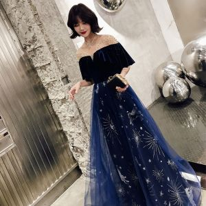 Modern / Fashion Navy Blue Evening Dresses  2019 A-Line / Princess V-Neck Glitter Star Rhinestone 1/2 Sleeves Backless Floor-Length / Long Formal Dresses