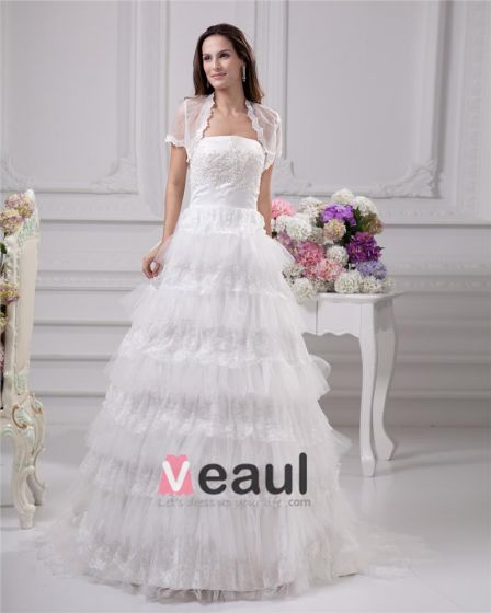 Elegant Applique Sicke Rüschen Strapless Bodenlangen Satin Garn Spitze Ballkleid Hochzeitskleid