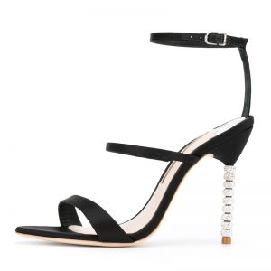 Chic / Beautiful Black Womens Sandals 2018 Satin Buckle 10 cm Stiletto Heels Open / Peep Toe Sandals