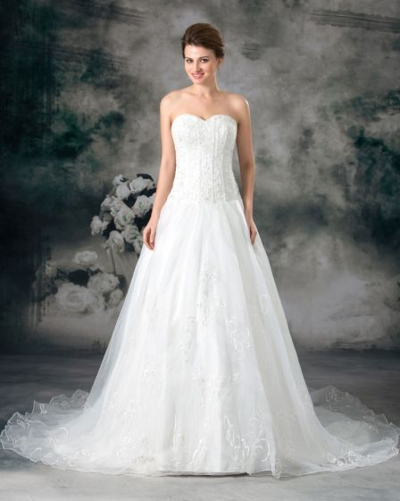 Organza Beading Embroidery Sweetheart Floor Length Court Train A-Line Wedding Dress