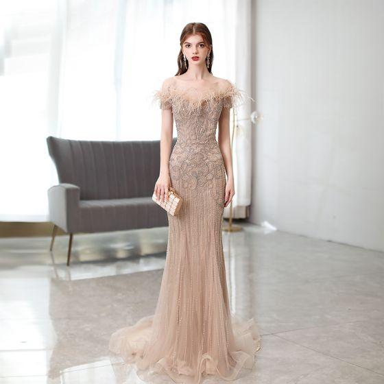 High-end Fabulous Champagne Handmade  Beading Rhinestone Evening Dresses  2021 Trumpet / Mermaid Off-The-Shoulder Tassel Sleeveless Sweep Train Formal Dresses