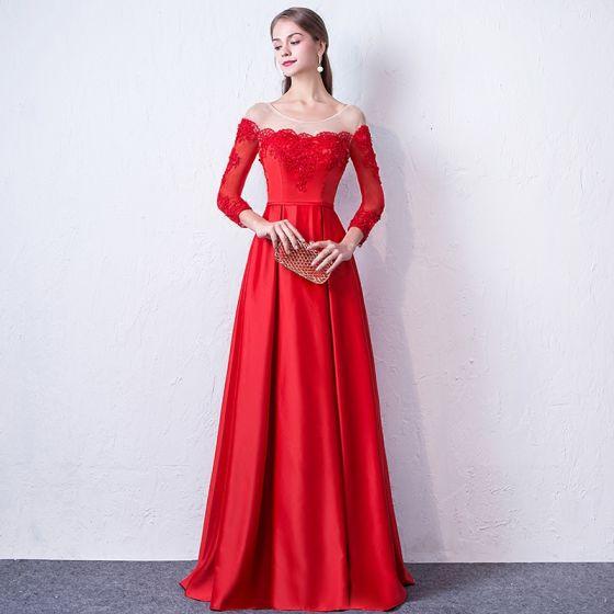 Élégant Rouge Robe De Soirée 2017 Princesse Encolure Dégagée Manches Longues Appliques En Dentelle Perlage Ceinture Longue Dos Nu Percé Robe De Ceremonie