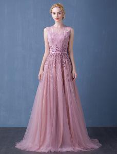 2016 Élégante Encolure Perles Fleurs À La Main Dos Nu Robe De Soirée Longue Avec Ceinture