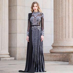 Luxury / Gorgeous Black See-through Evening Dresses  2020 Sheath / Fit High Neck Long Sleeve Rhinestone Beading Floor-Length / Long Ruffle Formal Dresses