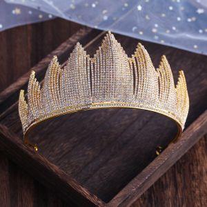 Najpiękniejsze / Ekskluzywne Srebrny Ozdoby Do Włosów Ślubne 2019 Metal Rhinestone Tiara Ślub Akcesoria