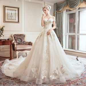 Classy Ivory Wedding Dresses 2019 A-Line / Princess Off-The-Shoulder Short Sleeve Backless Appliques Lace Beading Pearl Rhinestone Chapel Train Ruffle