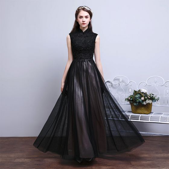 Vintage Black Evening Dresses  2017 A-Line / Princess High Neck Sleeveless Appliques Lace Beading Floor-Length / Long Ruffle Backless Formal Dresses